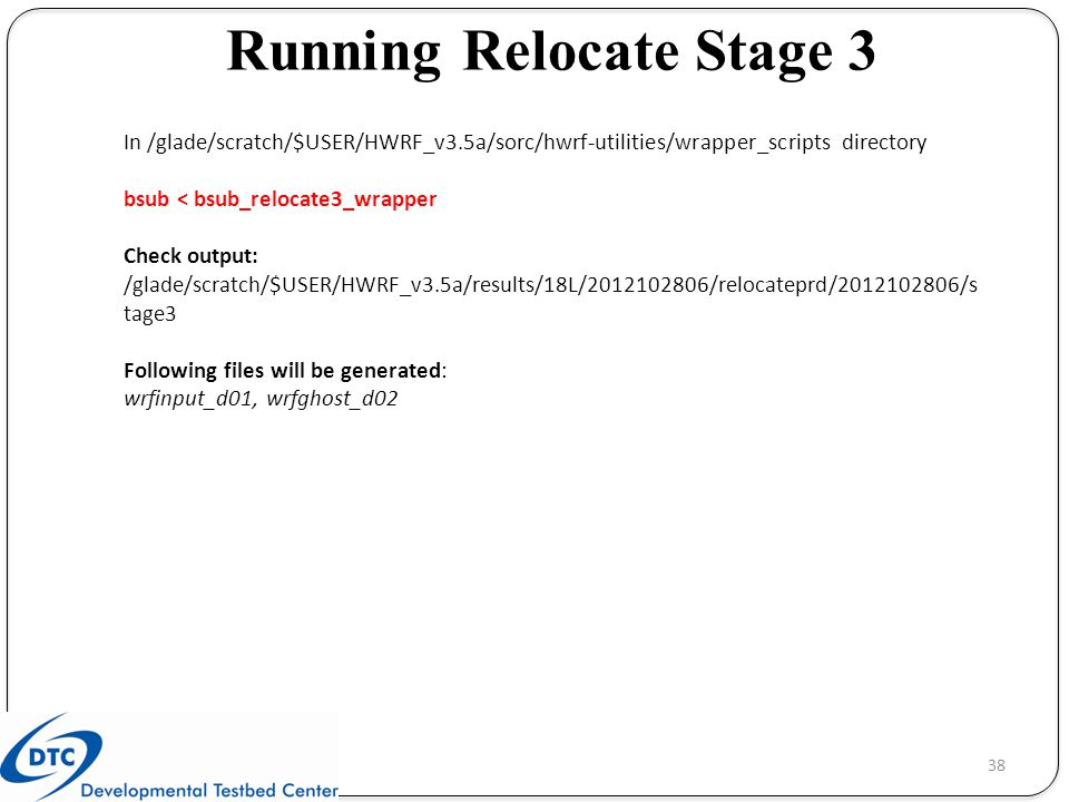 Running Relocate Stage 3
