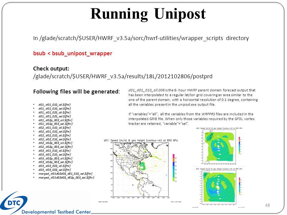 Running Unipost In /glade/scratch/$USER/HWRF_v3.5a/sorc/hwrf-utilities/wrapper_scripts directory. bsub < bsub_unipost_wrapper.