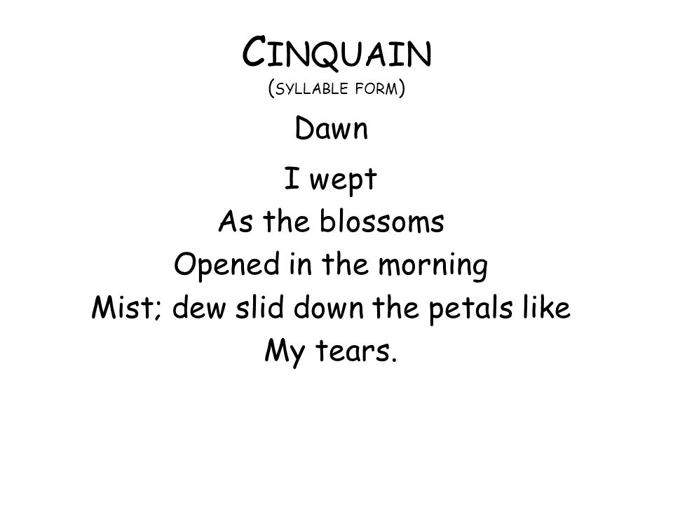 Cinquain (syllable form)