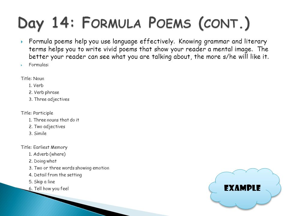 Day 14: Formula Poems (cont.)