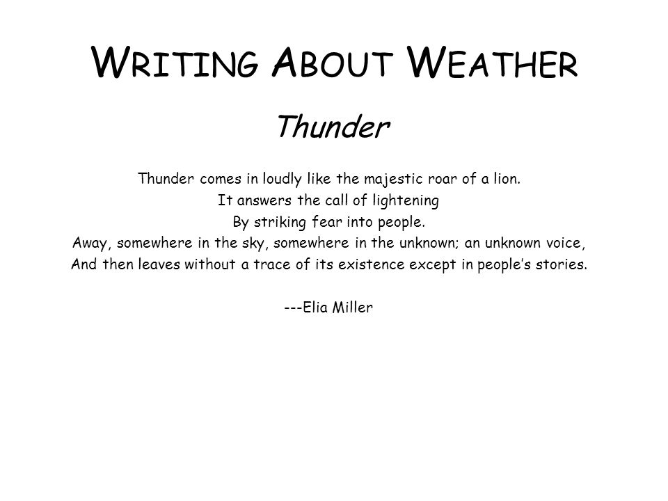 Writing About Weather Thunder