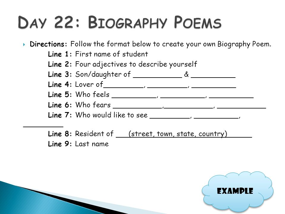 Day 22: Biography Poems Example