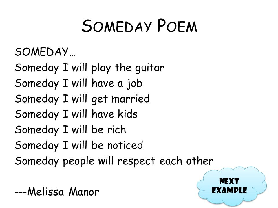 Someday Poem
