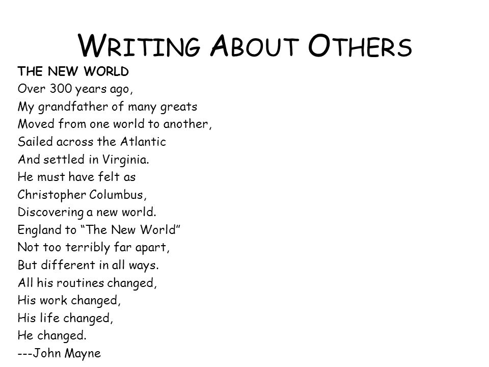 Writing About Others