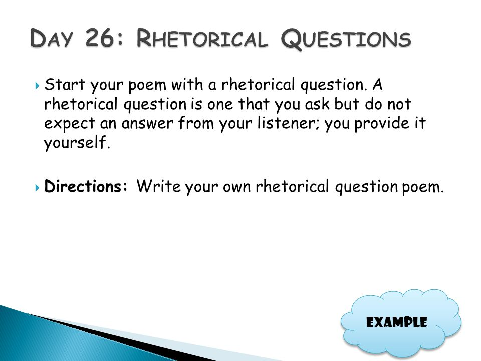 Day 26: Rhetorical Questions