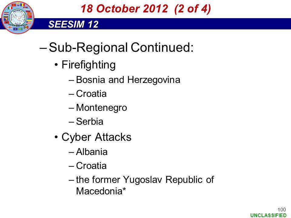 Sub-Regional Continued: