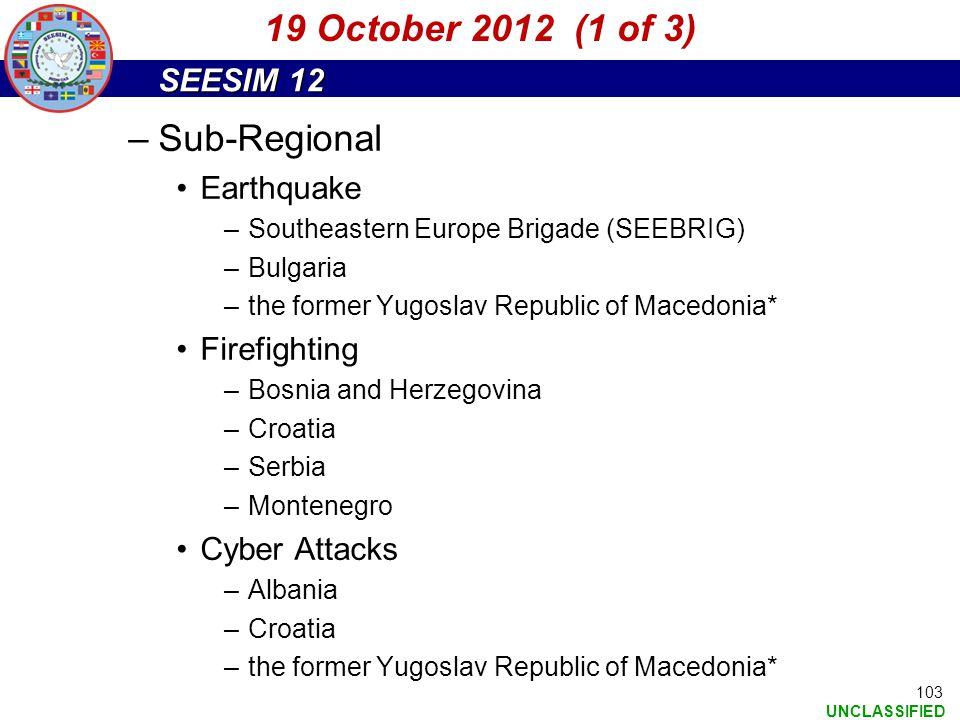 19 October 2012 (1 of 3) Sub-Regional Earthquake Firefighting
