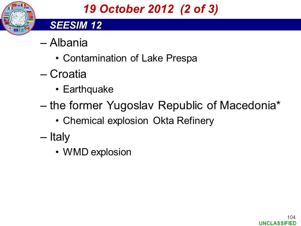 the former Yugoslav Republic of Macedonia* Italy