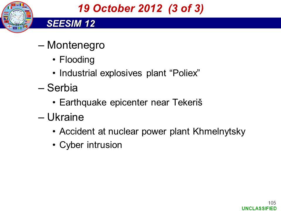19 October 2012 (3 of 3) Montenegro Serbia Ukraine Flooding
