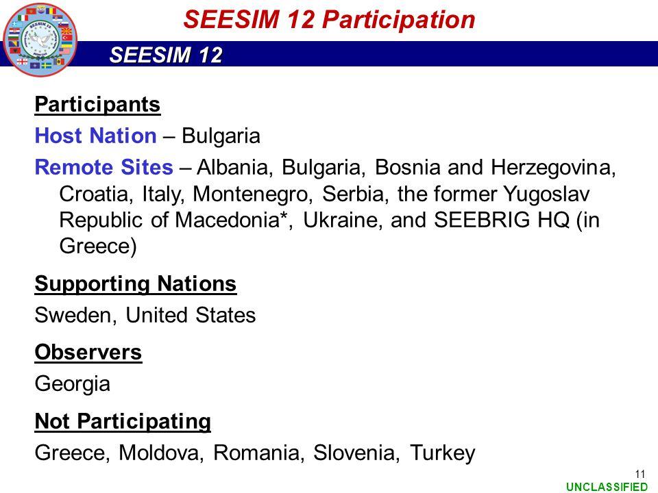 SEESIM 12 Participation Participants Host Nation – Bulgaria