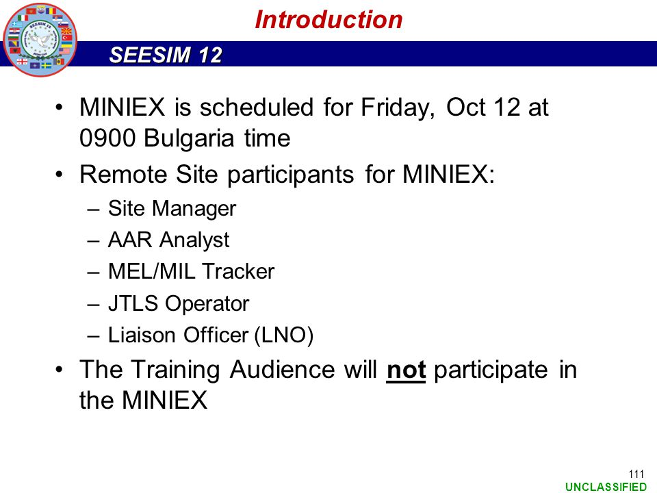 MINIEX is scheduled for Friday, Oct 12 at 0900 Bulgaria time