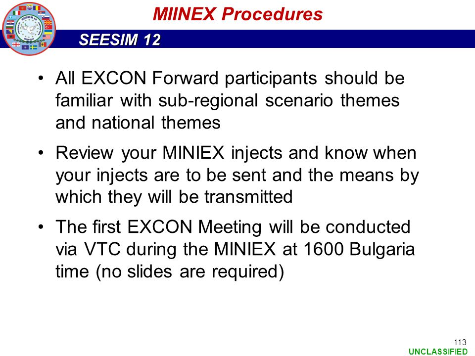 MIINEX Procedures All EXCON Forward participants should be familiar with sub-regional scenario themes and national themes.