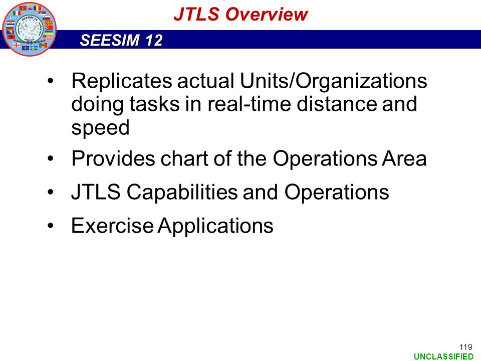 Provides chart of the Operations Area JTLS Capabilities and Operations