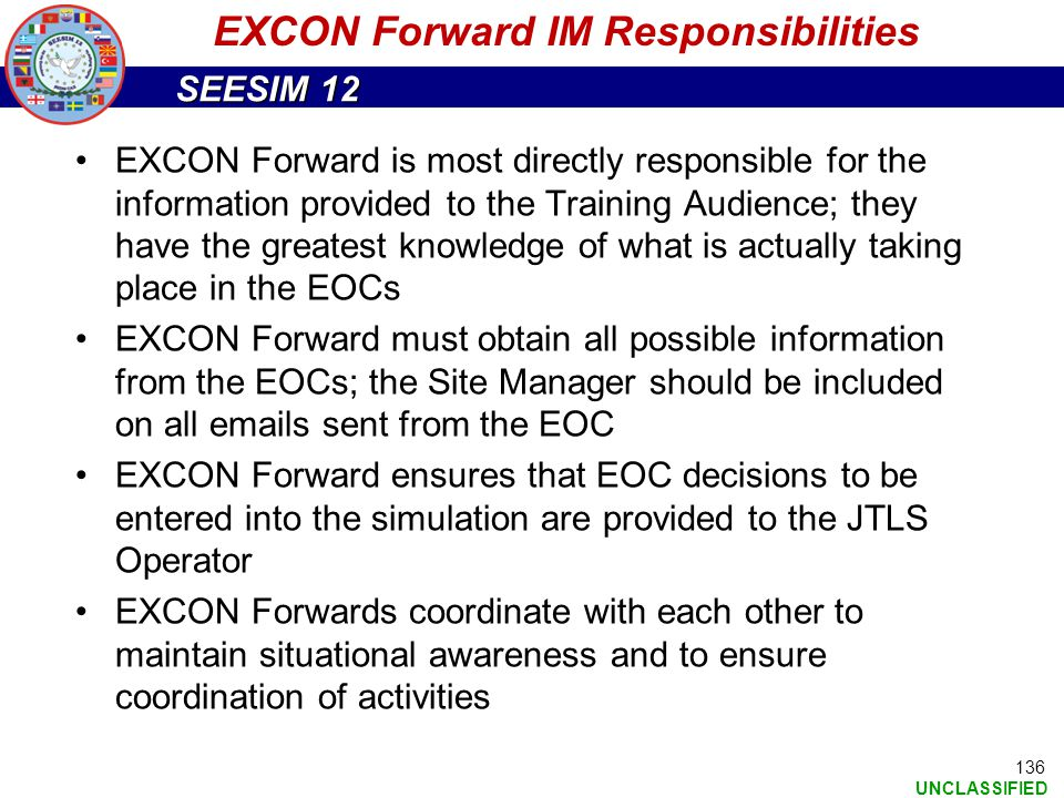 EXCON Forward IM Responsibilities