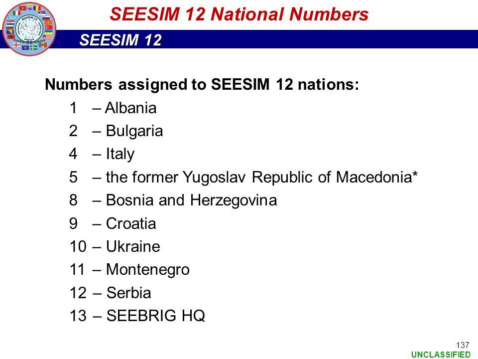 SEESIM 12 National Numbers