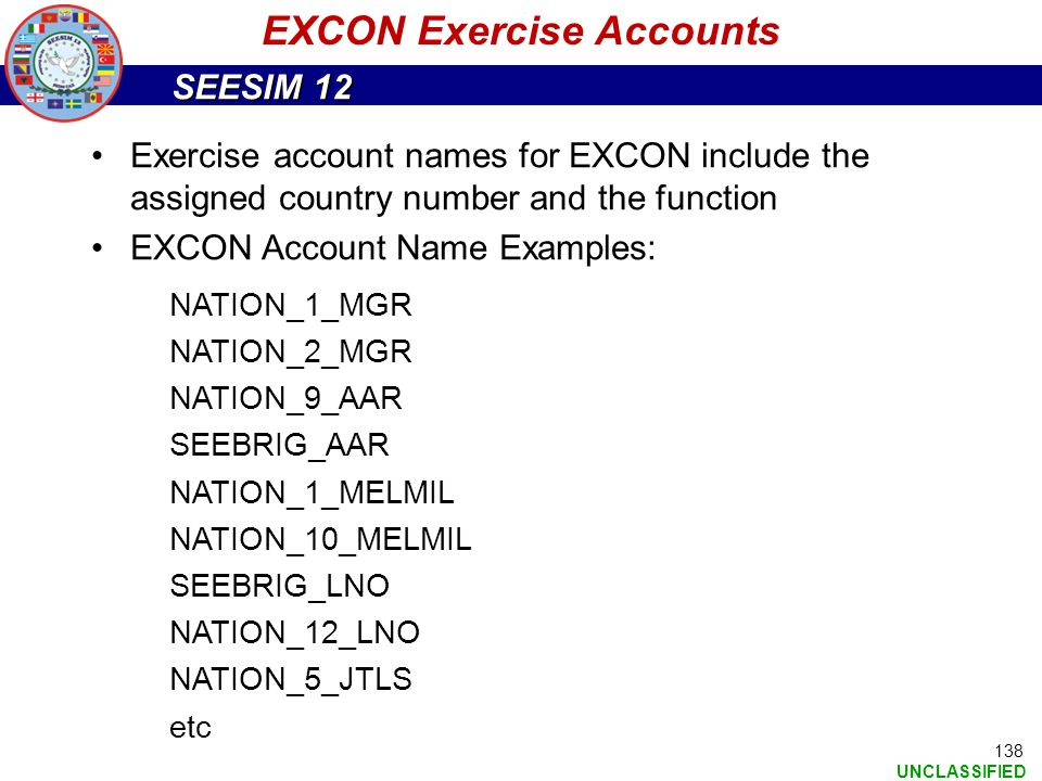 EXCON Exercise Accounts
