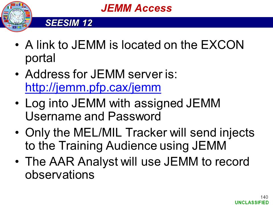 A link to JEMM is located on the EXCON portal