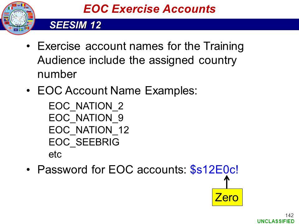 EOC Account Name Examples:
