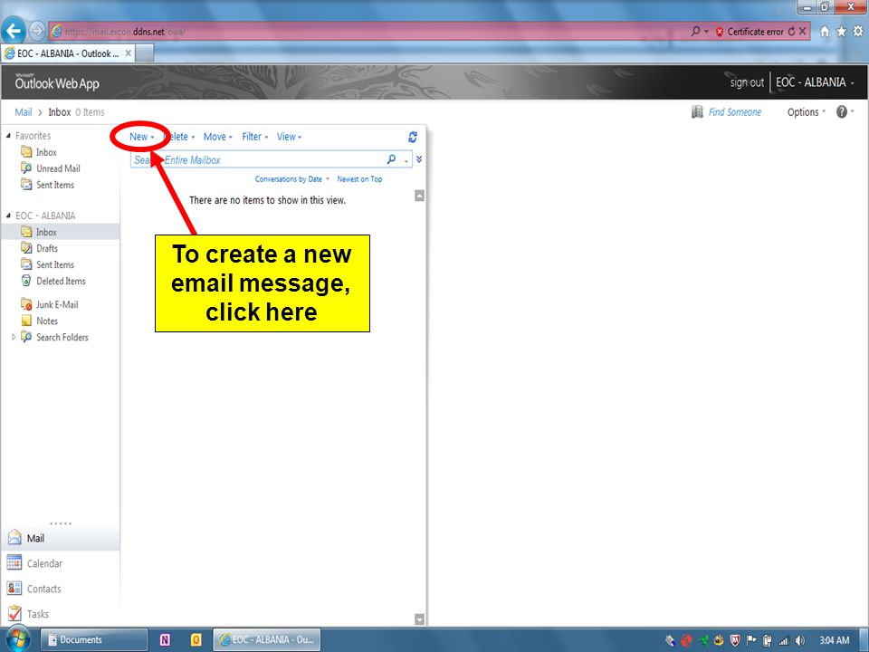 To create a new email message, click here