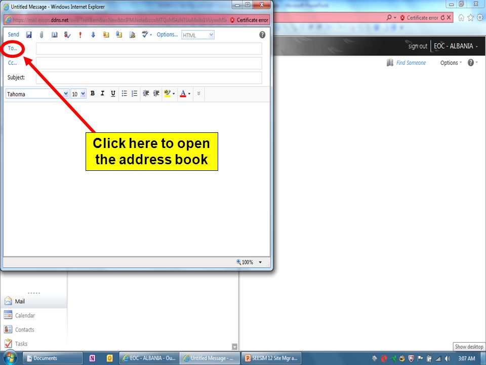 Click here to open the address book