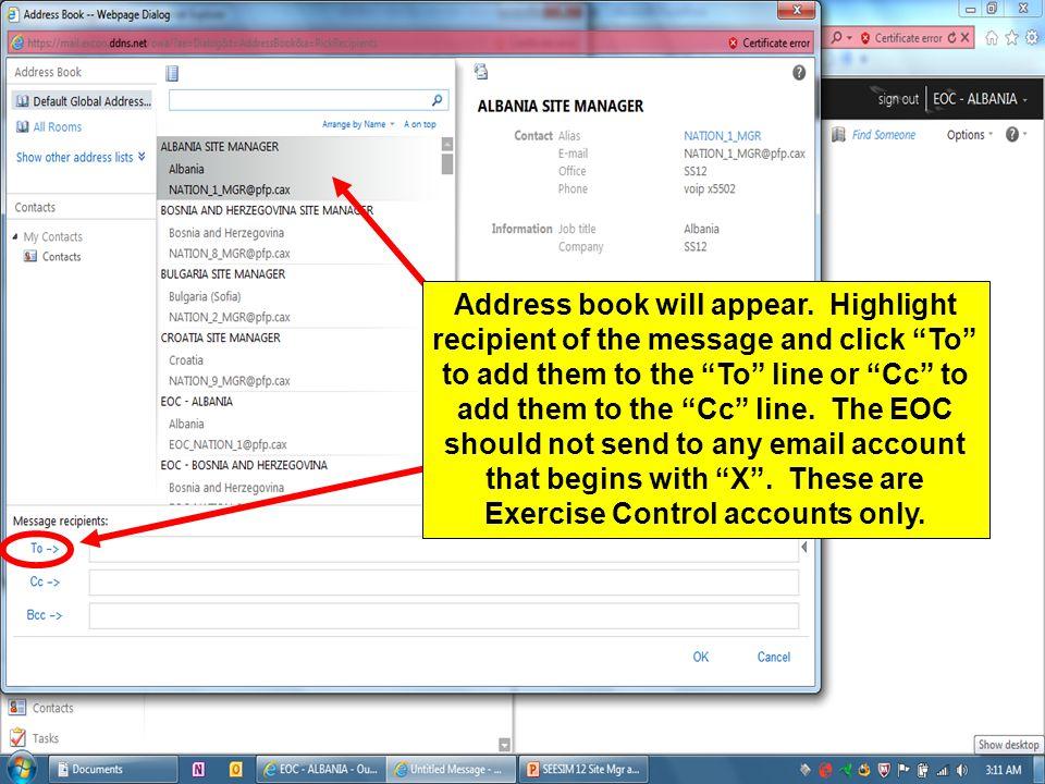 Address book will appear