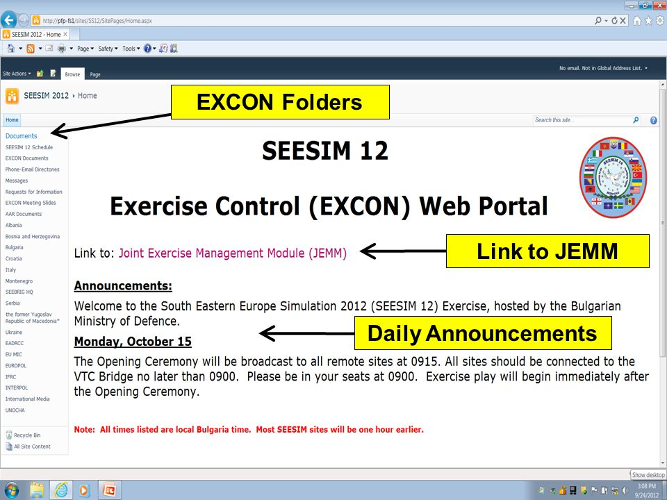 EXCON Folders Link to JEMM Daily Announcements