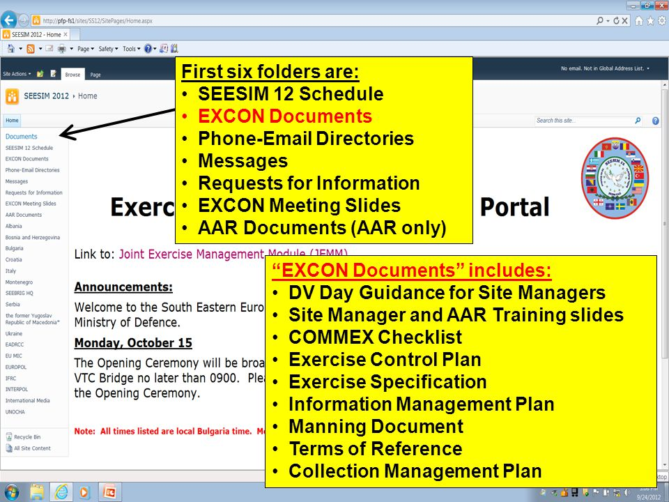 First six folders are: SEESIM 12 Schedule. EXCON Documents. Phone-Email Directories. Messages. Requests for Information.