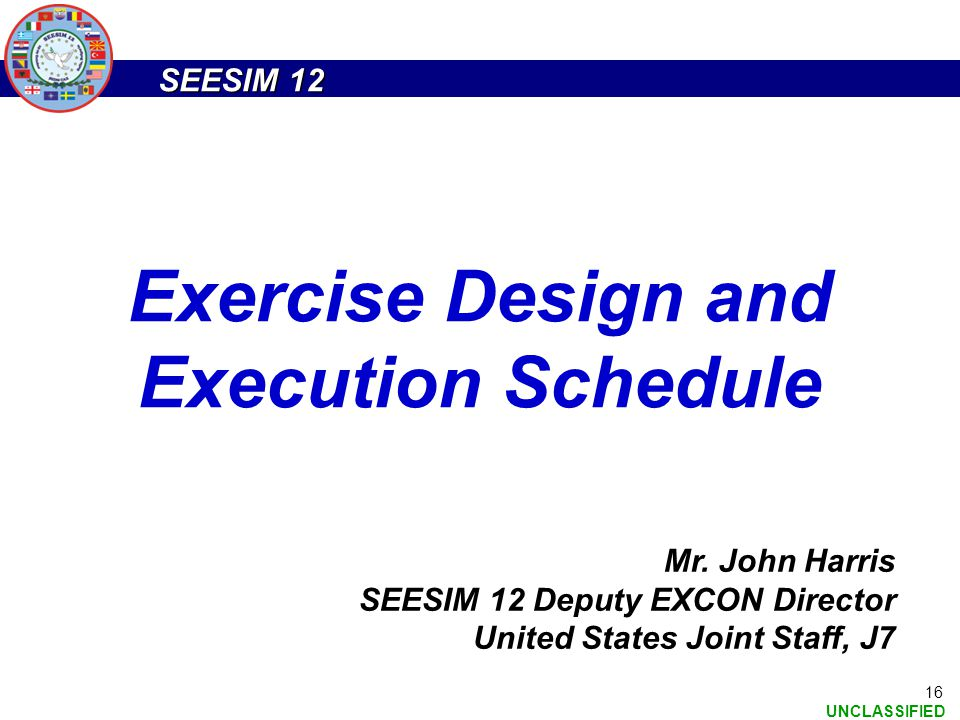 Exercise Design and Execution Schedule