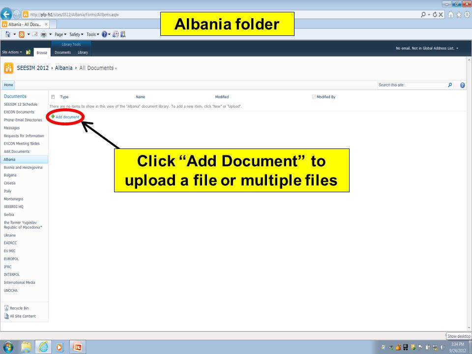 Click Add Document to upload a file or multiple files