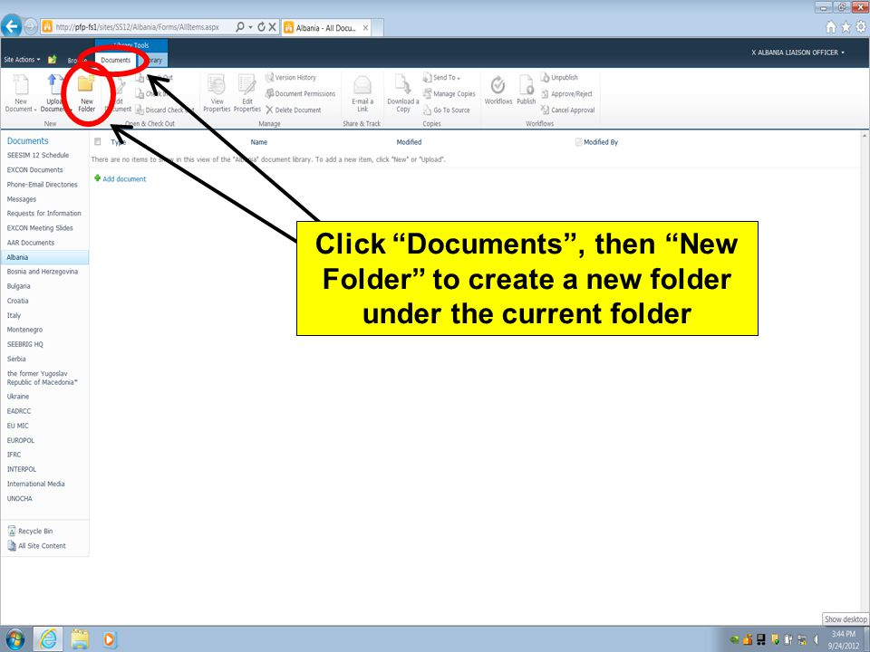 Click Documents , then New Folder to create a new folder under the current folder