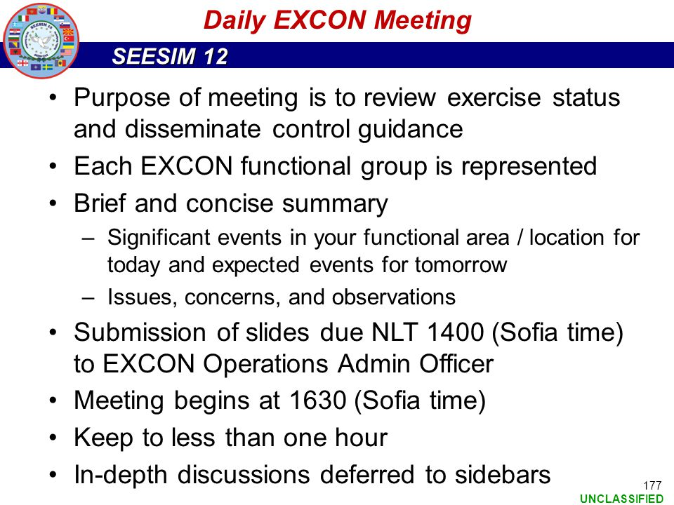 Each EXCON functional group is represented Brief and concise summary