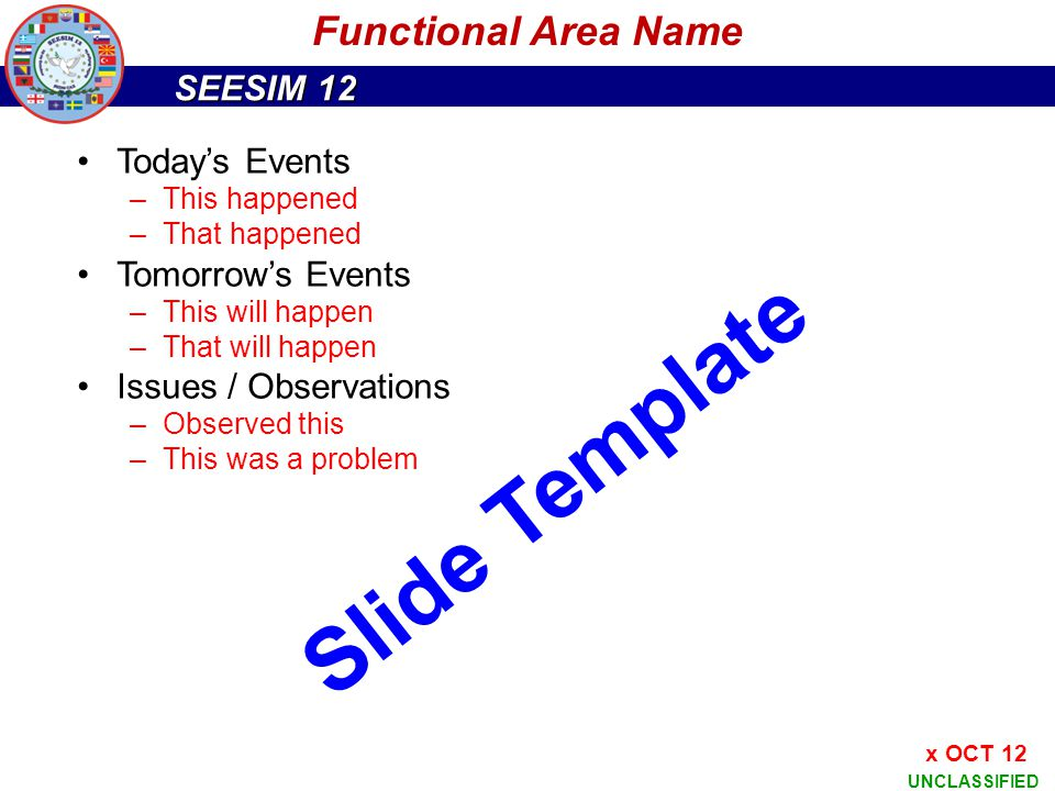 Slide Template Functional Area Name Today's Events Tomorrow's Events