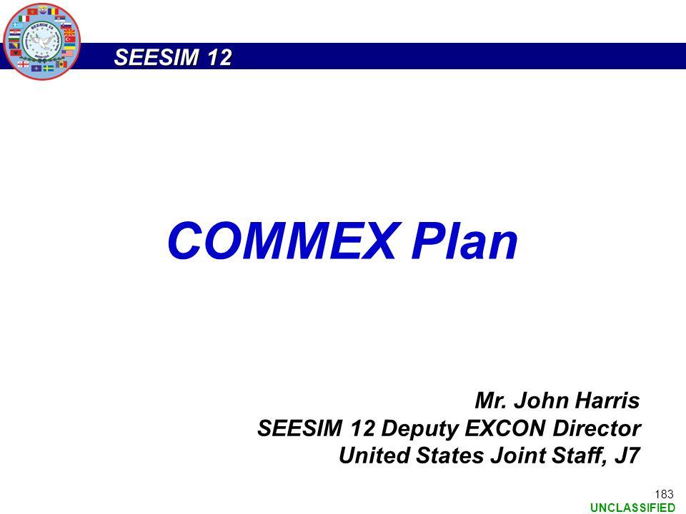 COMMEX Plan Mr. John Harris SEESIM 12 Deputy EXCON Director