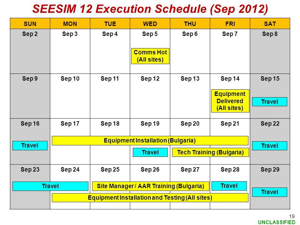 SEESIM 12 Execution Schedule (Sep 2012)
