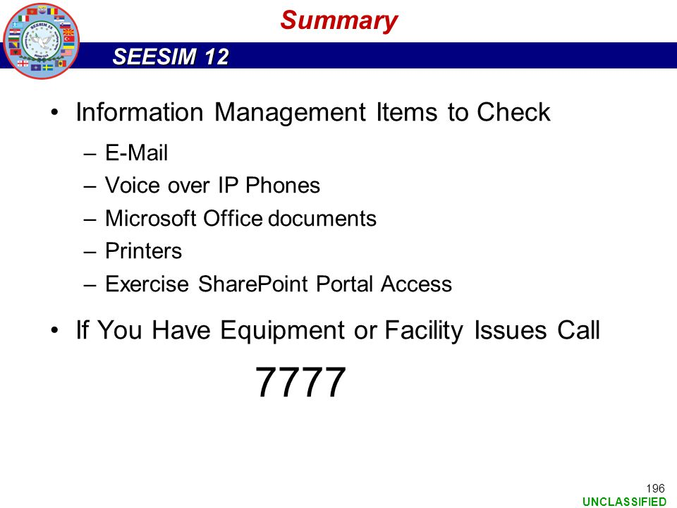 7777 Summary Information Management Items to Check