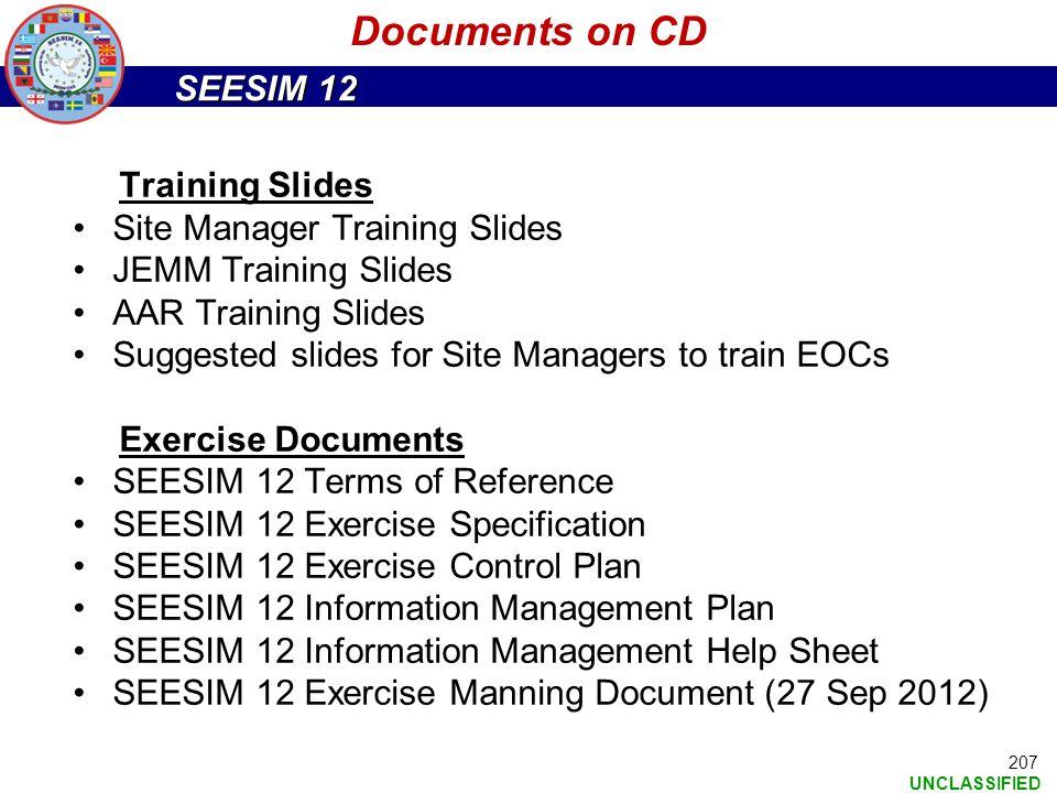 Documents on CD Training Slides Site Manager Training Slides