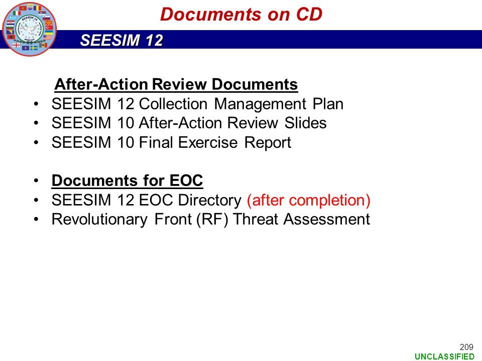 Documents on CD After-Action Review Documents