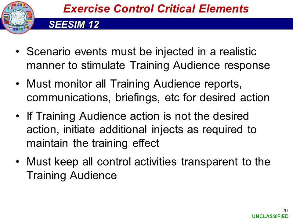 Exercise Control Critical Elements