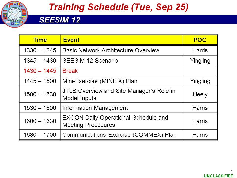 Training Schedule (Tue, Sep 25)