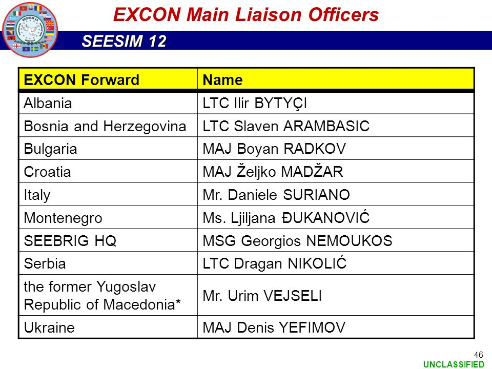 EXCON Main Liaison Officers