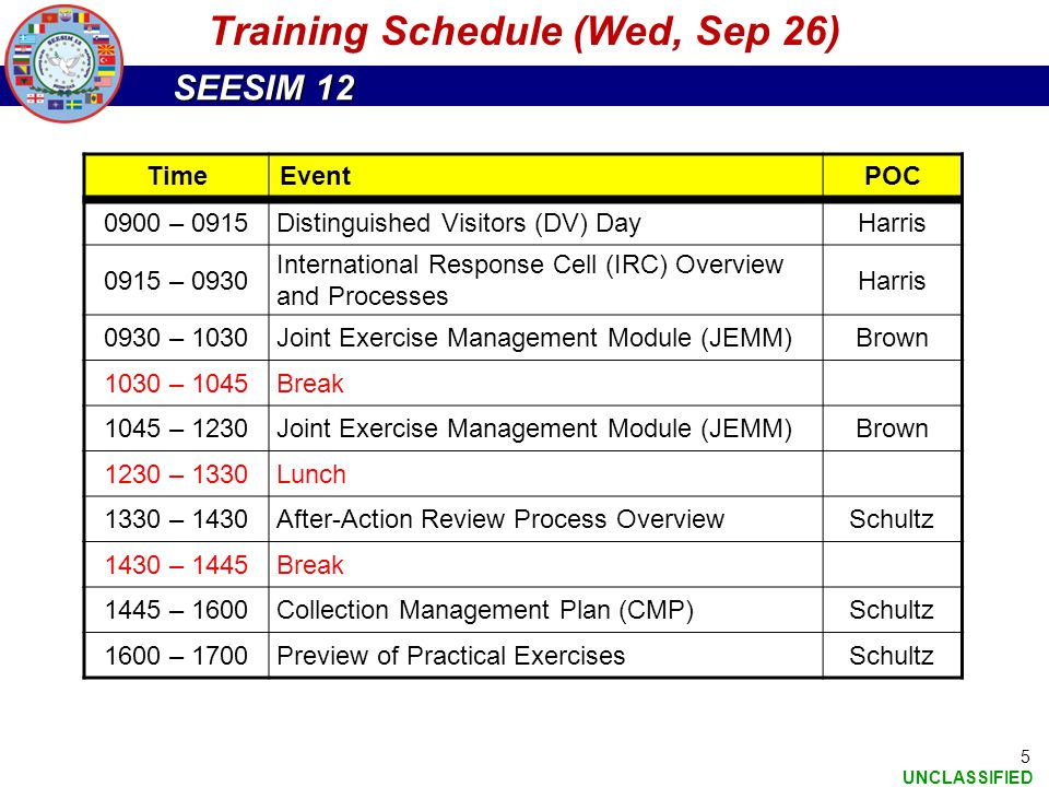 Training Schedule (Wed, Sep 26)