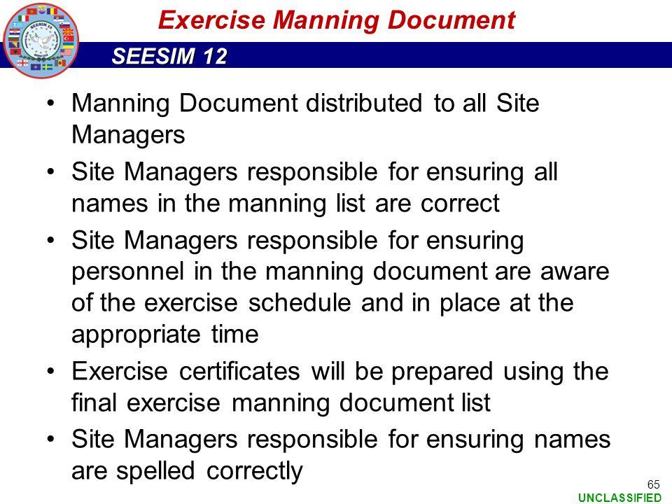 Exercise Manning Document
