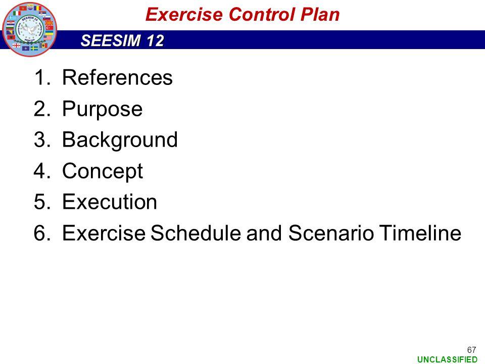 Exercise Schedule and Scenario Timeline