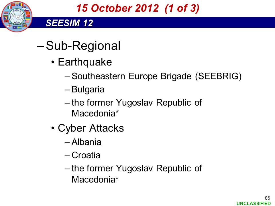 Sub-Regional 15 October 2012 (1 of 3) Earthquake Cyber Attacks