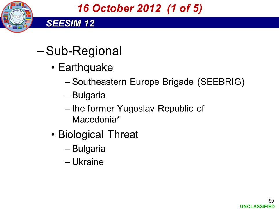 Sub-Regional 16 October 2012 (1 of 5) Earthquake Biological Threat