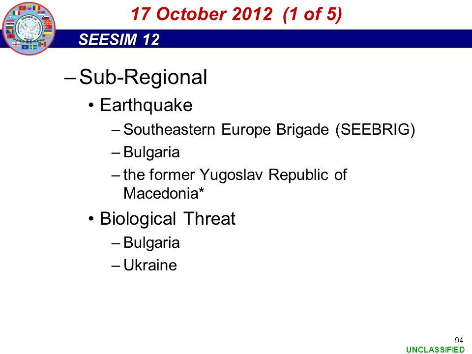 Sub-Regional 17 October 2012 (1 of 5) Earthquake Biological Threat