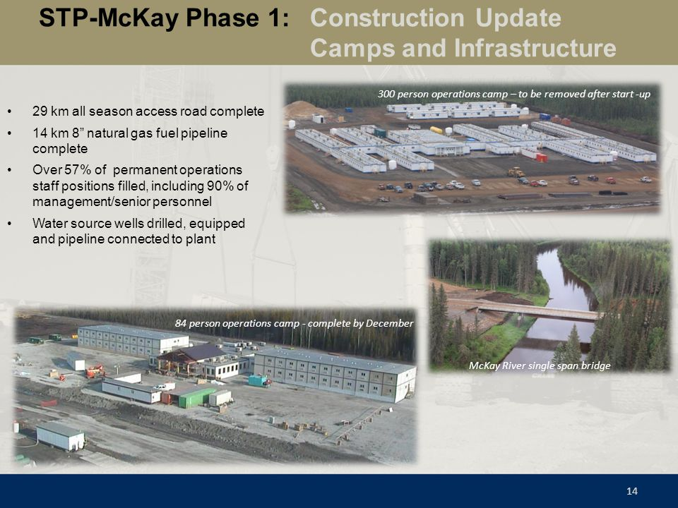 STP-McKay Phase 1: Construction Update Camps and Infrastructure