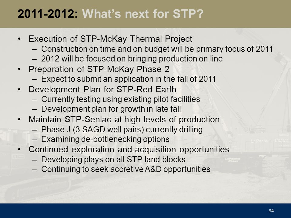 2011-2012: What's next for STP Execution of STP-McKay Thermal Project