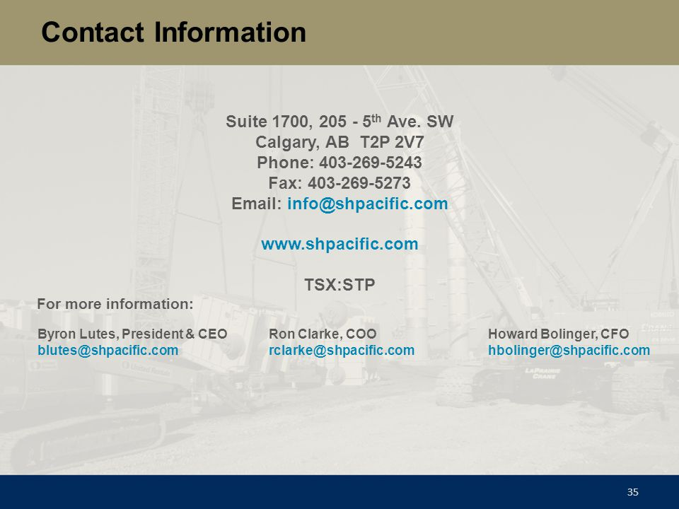 Contact Information Suite 1700, 205 - 5th Ave. SW. Calgary, AB T2P 2V7. Phone: 403-269-5243. Fax: 403-269-5273.