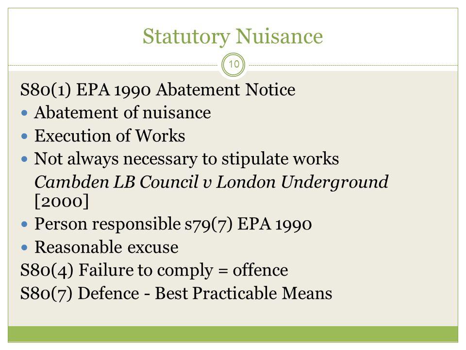 Statutory Nuisance S80(1) EPA 1990 Abatement Notice